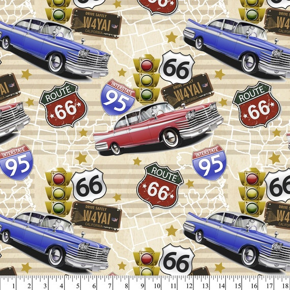Route 66 Fabric - Truck Fabric - Oldies Car Fabric - Interstate 95 Fabric