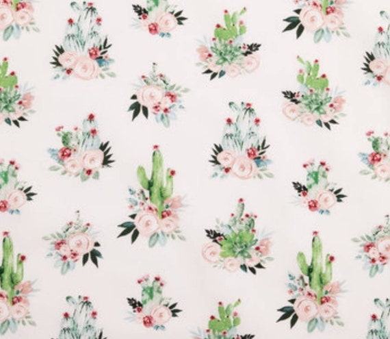 Cactus Bouquet Fabric - Cactus and Flowers Fabric - Rustic Chic Fabric