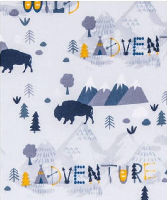 Adventure Buffalo Fabric - Roam Free - Mountain Blue Fabric - Baby Blanket