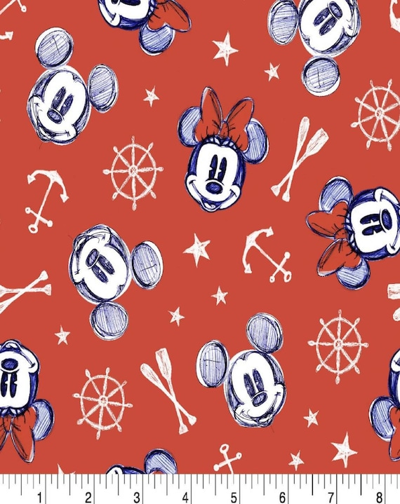 Mickey Mouse Fabric - Red Mickey Fabric - Disney Classic Fabric - Mickey Mouse Summer - Minnie Mouse Summer