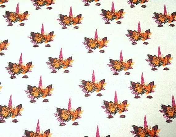 Unicorn Halloween Fabric - Unicorn Fall Fabric - Purple Unicorn - Halloween Fabric