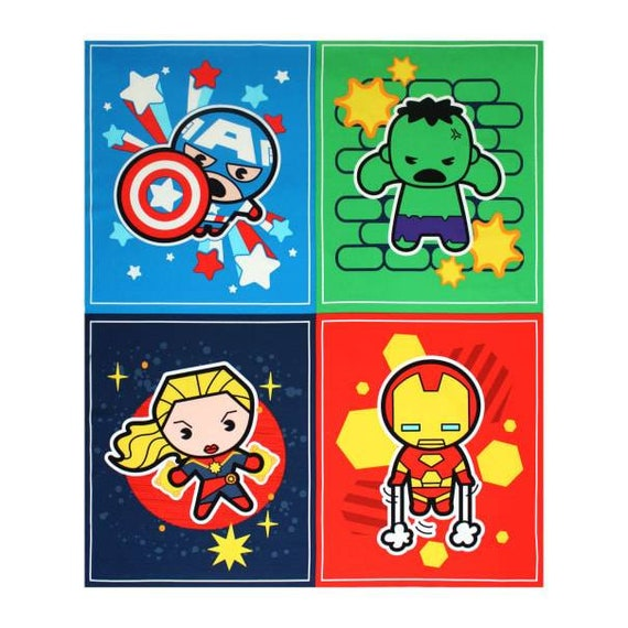 Avengers Panel Fabric - Captain America - Captain Marvel - Thor - The Hulk - Black Widow - Spider-man