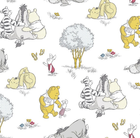 Winnie the Pooh Fabric - 100 Acre Woods - Piglet - Tigger - Bumblebee Fabric - Honey Bee Fabric - Christopher Robin