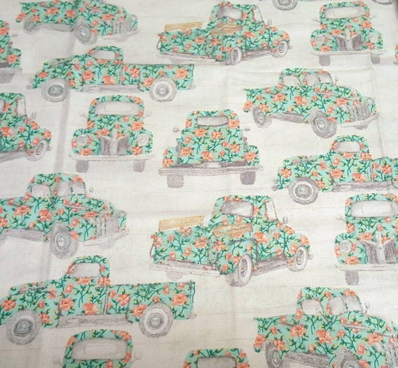 Floral Old Truck Fabric - Spring Truck Fabric - Teal Truck Fabric - Rustic Spring Fabric - Country Floral Fabric - Rustic Truck Fabric
