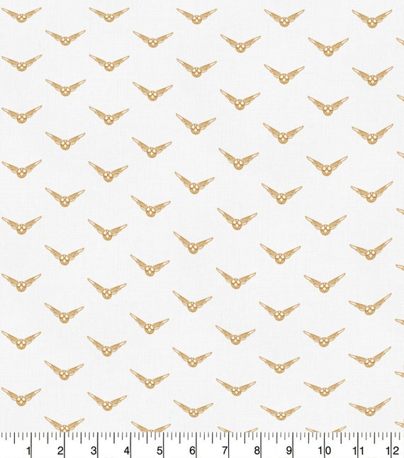 Harry Potter Golden Snitch Fabric - Harry Potter Gryffindor Fabric - Quidditch Fabric - Quilting Cotton Harry Potter Fabric