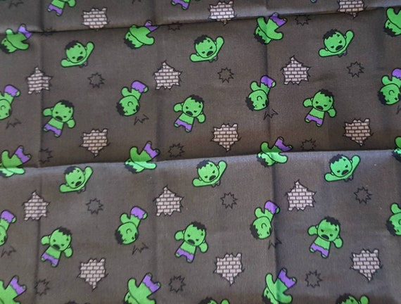Hulk Kawaii - Avengers Panel Fabric - Captain America - Captain Marvel - Thor - The Hulk - Spider-man