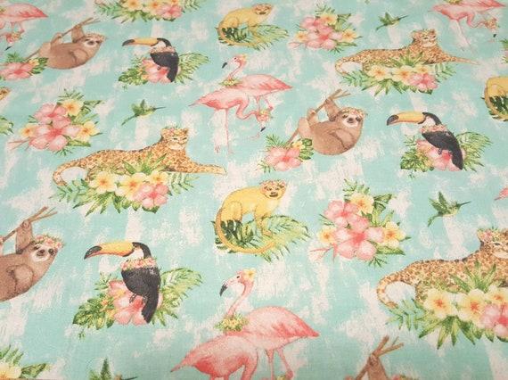 Beach Fabric - Beach Party - Tropical Vayca - Summer Fabric - Flamingo Fabric