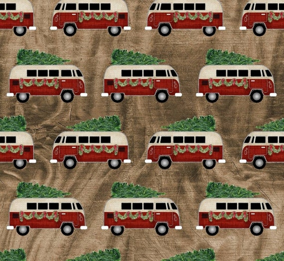 Christmas Volkswagen Fabric - Red Volkswagen Christmas Tree Fabric - Rustic Christmas Fabric - Rustic Red Van Fabric