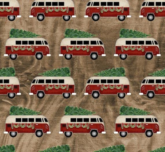 Christmas Volkswagen Fabric - Red Volkswagen Christmas Tree Fabric - Rustic Christmas Fabric - Rustic Red Van Fabric