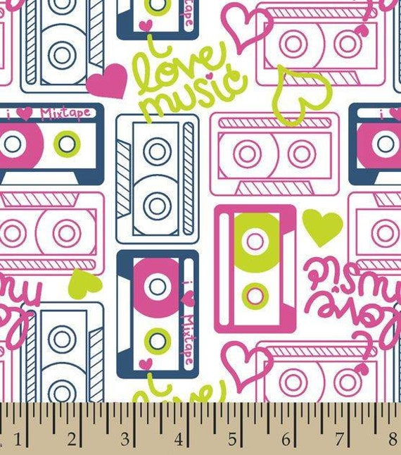 Pink Cassette Tabe Snuggle Flannel - Fabric by the Yard - 80's Flannel Fabric