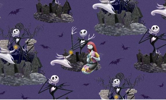 Nightmare Before Christmas Fabric - Nightmare Before Christmas Blanket Fabric - Purple Nightmare Before Christmas