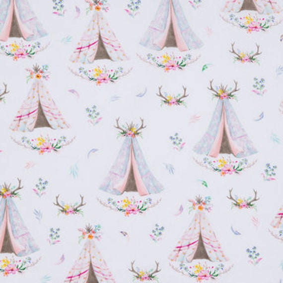 Blush Teepee and Antlers Fabric - Teepee Fabric - Rustic Chic Fabric - Nursery Fabric - Adventure Wilderness Fabric