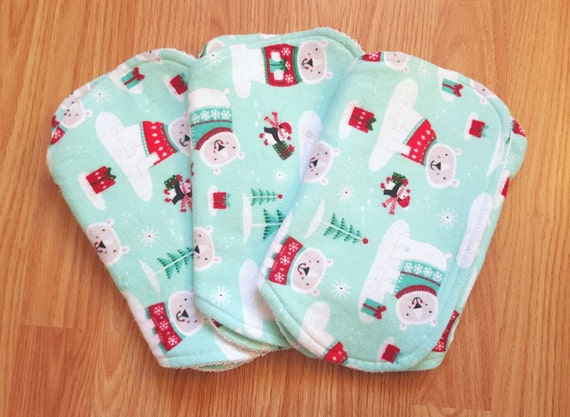 Christmas Contoured Burp Cloth Set of 3 - Unique Baby Shower Gift - New Mom Gift - Flannel and Terry Burp Cloths - Polar Bear Burp Cloths