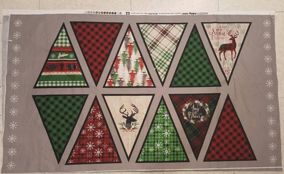 Christmas Lodge Pennant Panel Fabric - Christmas Tree Fabric - Rustic Christmas Fabric - Country Christmas - Reindeer Fabric - Buffalo Plaid