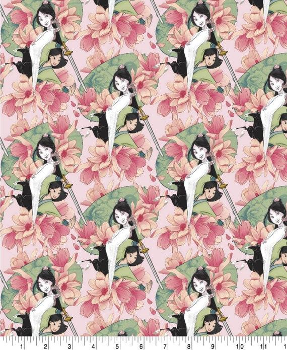 Mulan Floral Cotton Fabric - Mulan Fabric - Mushu - Emperor