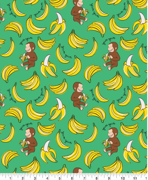 Curious George Fabric - Monkey and Bannana - Monkey Fabric