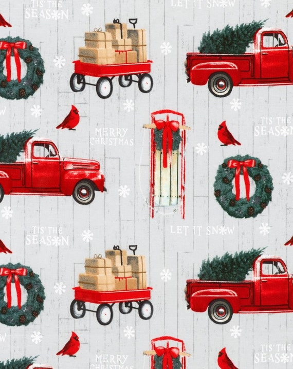 Red Christmas Truck Fabric - Red Truck Christmas Tree Fabric - Rustic Christmas Fabric - Country Christmas Fabric - Rustic Red Truck Fabric