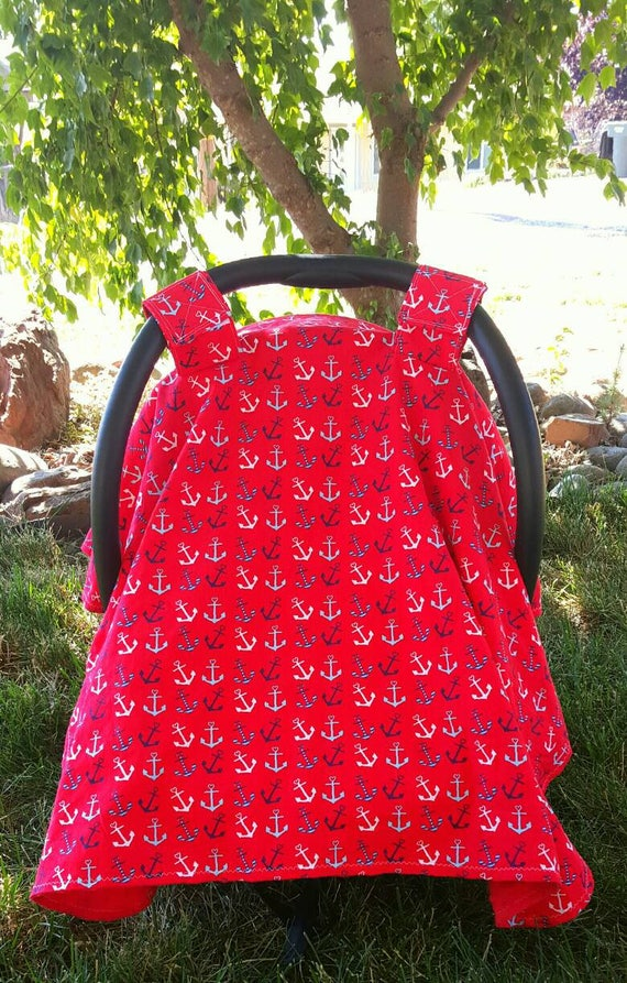 Anchor Car Seat Canopy - Car Seat Cover - Breastfeeding Cover - Baby Shower Gift Idea - New Mom Gift