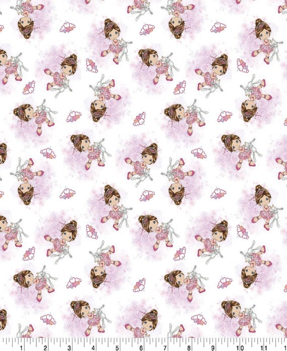 Precious Moments Girl With Her Bunny - Princess - Ballet - Baby Fabric