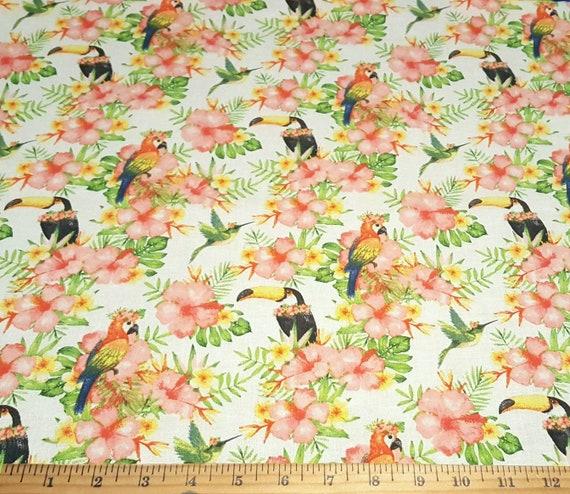 Beach Fabric - Beach Party - Tropical Vayca - Summer Fabric - Flamingo Fabric - Parrot Fabric
