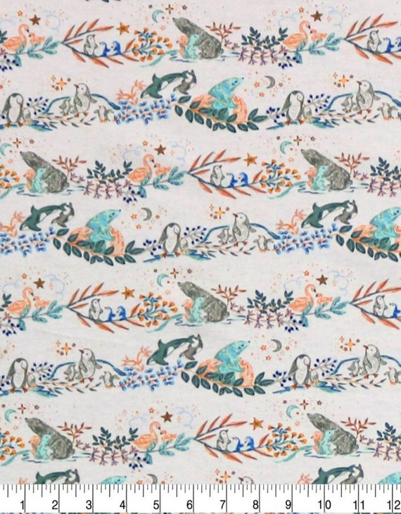 Forrest Super Snuggle Flannel - Animal Baby Fabric - Whale Fabric - Penguin - Mama and Baby - Swan Fabric