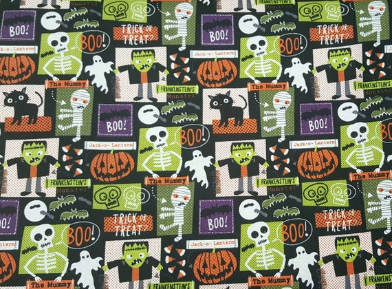 Gray Halloween Fabric - Skeleton Fabric - Bat Fabric - Halloween Bat Fabric - Frankenstein Fabric - Mummy