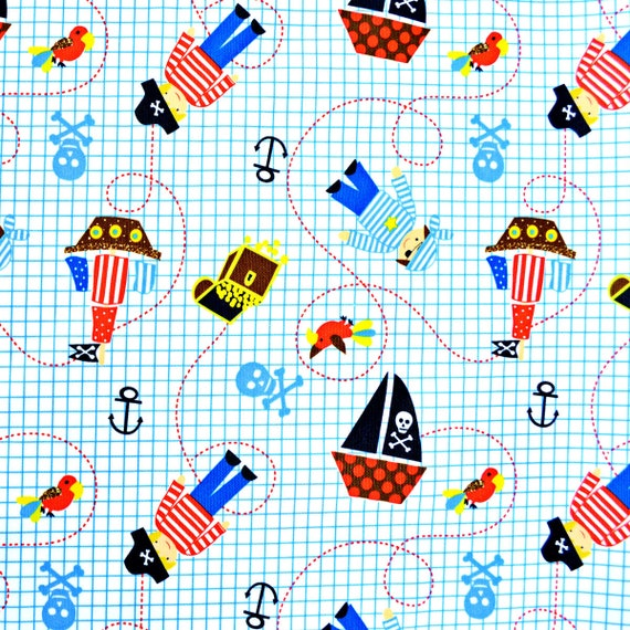 Pirate Ship PUL Fabric - Babyville Fabric - Waterproof Fabric - Cloth Diaper Fabric - Bird PUL Fabric - Wet Bag Fabric - Anchors - Parrot