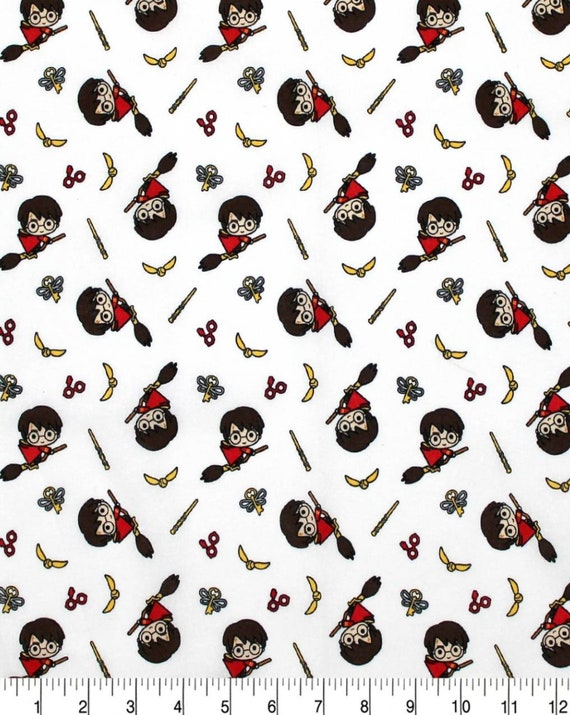 Harry Potter Glasses Fabric - Harry Potter Gryffindor Fabric - Kawaii Quidditch Fabric - Quilting Cotton Harry Potter Fabric