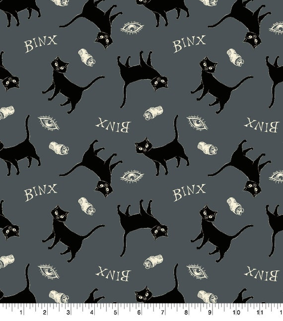 Hocus Pocus Binx Fabric - Hocus Pocus Fabric - Cotton Halloween Fabric - Halloween Cat Fabric