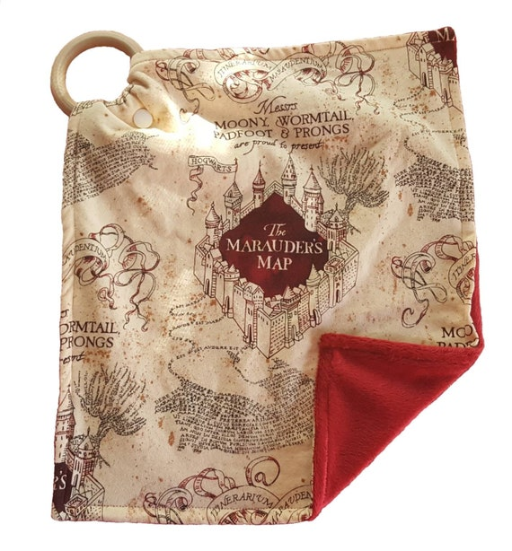 Harry Potter Minky Lovey Cuddle Blanket - Sensory Toy - Beech Wood Ring - Unique Baby Shower Gift - New Mom Gift - Marauder's Map Blanket