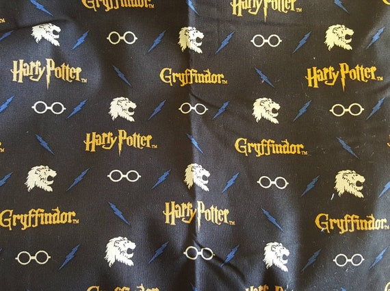 Harry Potter Gryffindor Fabric - Black and Gold Harry Potter Fabric - Quilting Cotton Harry Potter Fabric