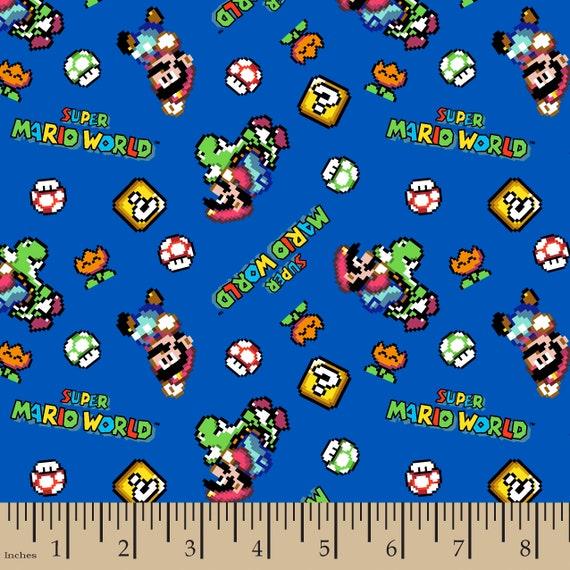 Super Mario World Fabric - Mario Fabric - Nintendo Fabric - Video Game Fabric