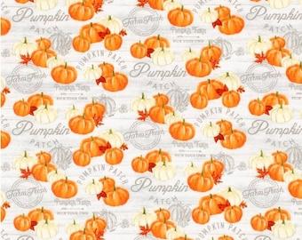 Farmers Market Fabric - Pumpkin Patch Fabric - Rustic Truck Fabric - Country Fabric - Farm House - Plaid Fall Fabric