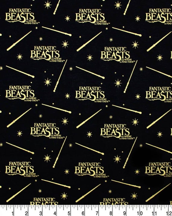 Magical Beasts Metalic Fabric - Hufflepuff Fabric - Slytherin Fabric - Harry Potter Gryffindor Fabric - Quilting Cotton Harry Potter Fabric