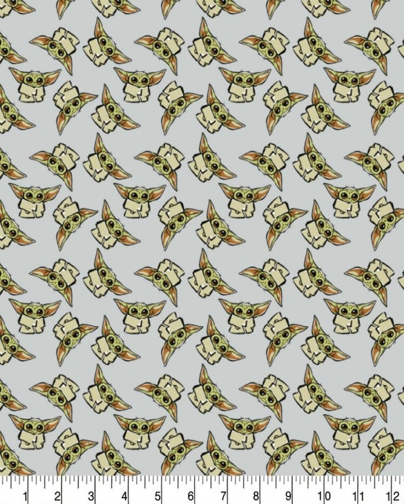 Star Wars Cartoon Fabric - Yoda - Death Star - Luke Skywalker - Princess Leia - C-3PO  - R2-D2 - Han Solo - Rey - Kylo Ren - Baby Yoda