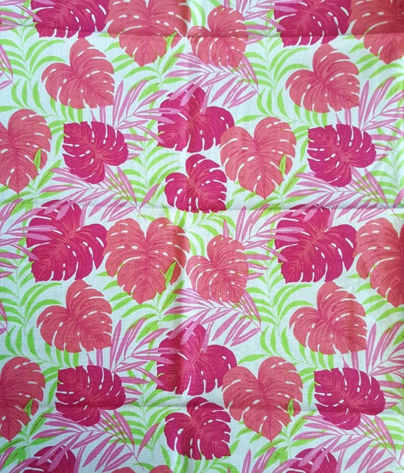 Pink Tropical Fabric - Tropical Leaf Fabric - Jungle Fabric
