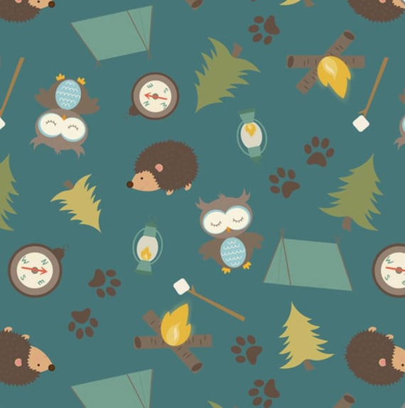 ECO-PUL Fabric by the Yard - Food Safe Fabric - Cloth Diaper Fabric - Solvent-free Laminate - Fishing Bears - Gone Fishing