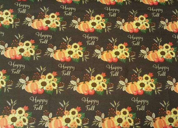 Happy Fall - Pumpkin Fabric - Fall Pumpkin Fabric - Orange Pumpkin Fabric - Fall Fabric - Thanksgiving Fabric - Turkey Fabric - Wagon Fabric