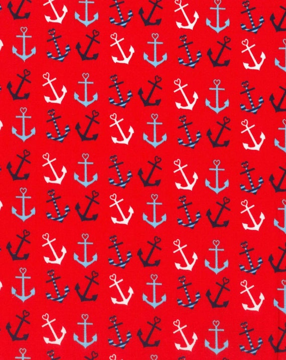 Red Anchor Fabric - Novelty Anchor Fabric - Nautical Fabric - Blue and White Anchor Fabric - Sailor Fabric - Summer Fabric