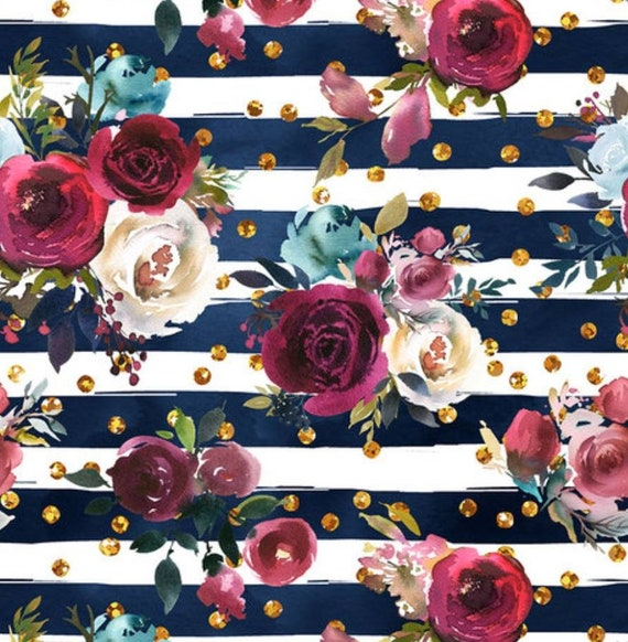 ECO-PUL Fabric by the Yard - Food Safe Fabric - Cloth Diaper Fabric - Solvent-free Laminate - Navy Stripe and Roses