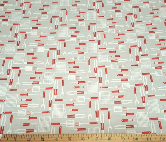 BBQ Fabric - 4th of July Fabric - Backyard Fabric - Lemonade Fabric - Burgers Fabric