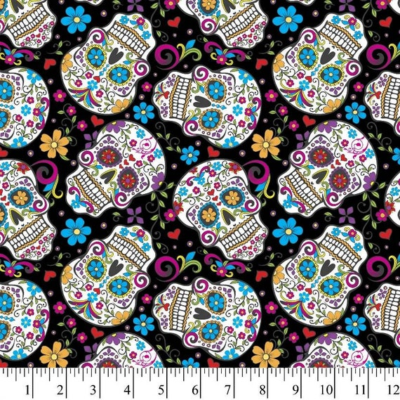Skulls Fabric - Black Skulls Fabric by the Yard - Folkloric Skulls Red