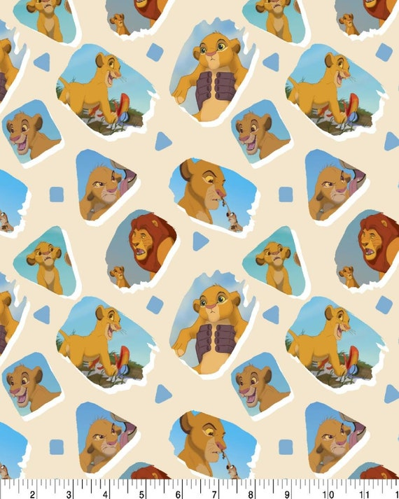 Lion King Fabric - Simba Lion King Fabric - Jungle Fabric - Quilting Cotton