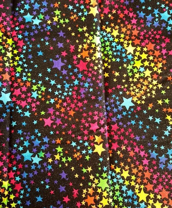 Star Fabric - Rainbow Glitter Fabric - Rainbow Star Fabric - Sparkle Fabric