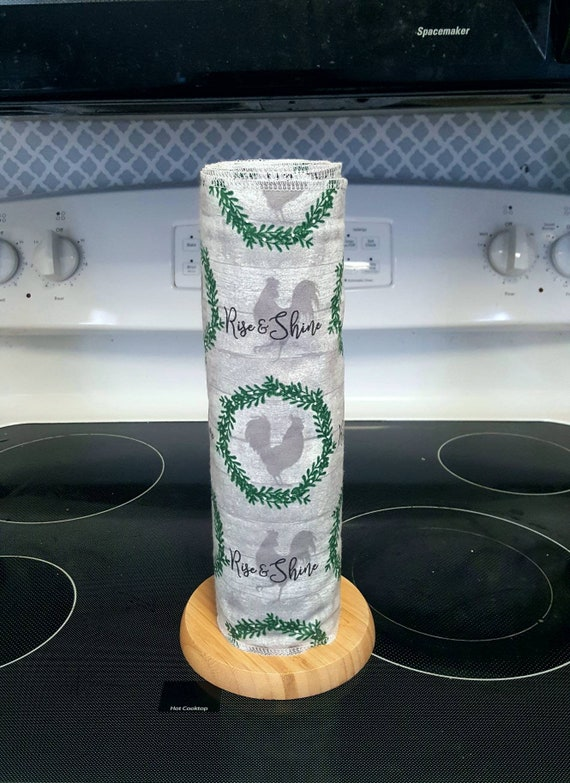 Rooster Unpaper Towels - Flannel Reusable Towels - 1 Ply - ECO Friendly - Cotton Paper Towels - Buffalo Plaid Black and White