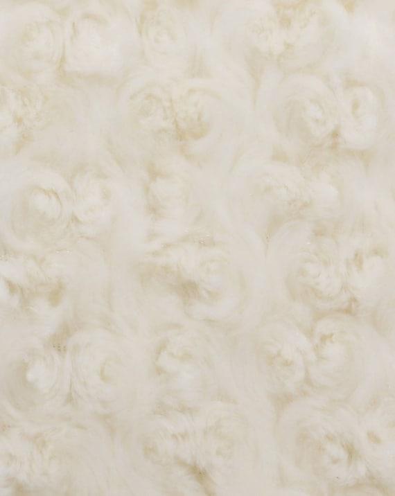 Ivory Minky Rose Swirl Fabric - Minky Rosette - Super Soft Minky Baby Blanket Fabric