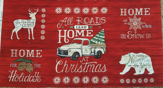 Red Christmas Truck Fabric - Rustic Christmas Panel - Rustic Christmas Fabric - Country Christmas Fabric - Rustic Red Truck Fabric