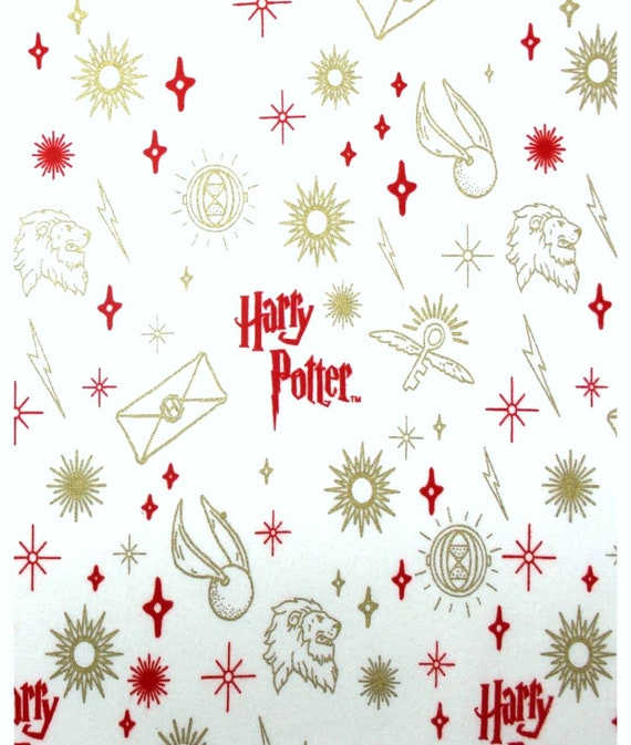 Harry Potter Gryffindor Fabric - White Flannel Harry Potter Fabric - Quilting Cotton Harry Potter Fabric