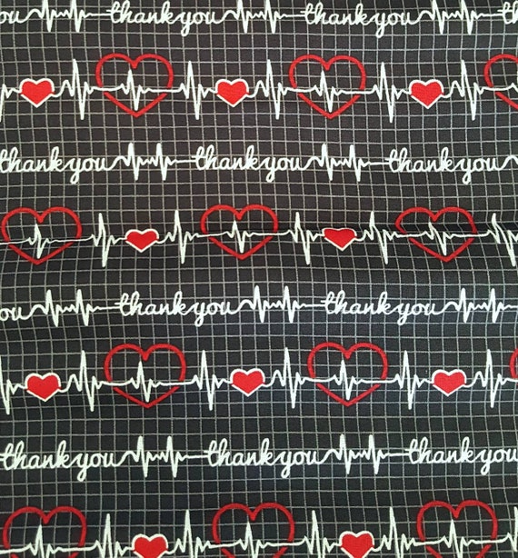 Thank You Fabric - Ekg Thank You Fabric - Heart Ekg Fabric - Nurse Fabric - DR Fabric - First Responder Fabric - Ems Fabric