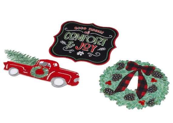Christmas Applique - Red Ford Truck - Buffalo Plaid Wreath - Good Tidings of Comfort and Joy - Christmas Tree